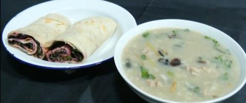 Duck Bone Congee (or Hot & Sour Soup) + Duck Meat Pancake Roll